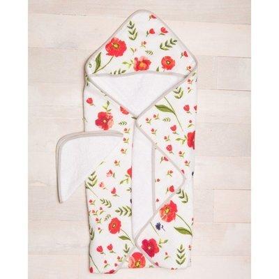 Sortie de bain et gant de toilette / Coquelicot