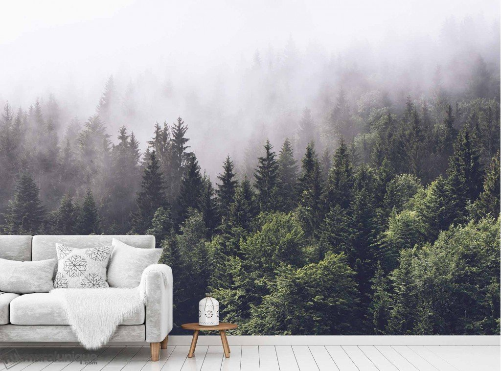 Murale Conifères dans le brouillard 12' x 8'