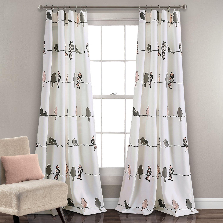 Ensemble de 2 panneaux de rideaux assombrissants - Rowley Rose/Gris