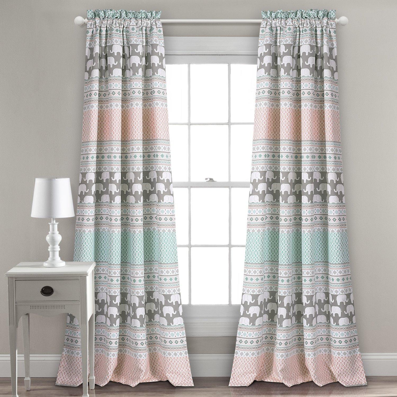 Ensemble de 2 panneaux de rideaux assombrissants - Elephant Stripe