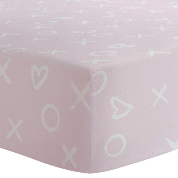 Drap contour bassinette en Flanelle  - XO rose