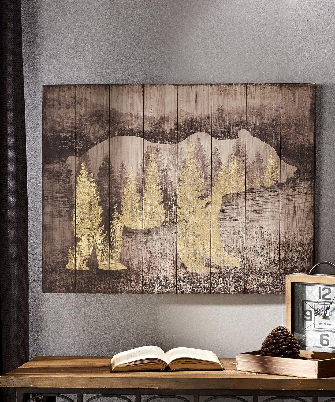 Cadre en bois- Ours & montagne