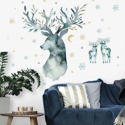 Collant mural Cerf d'hiver en aquarelle