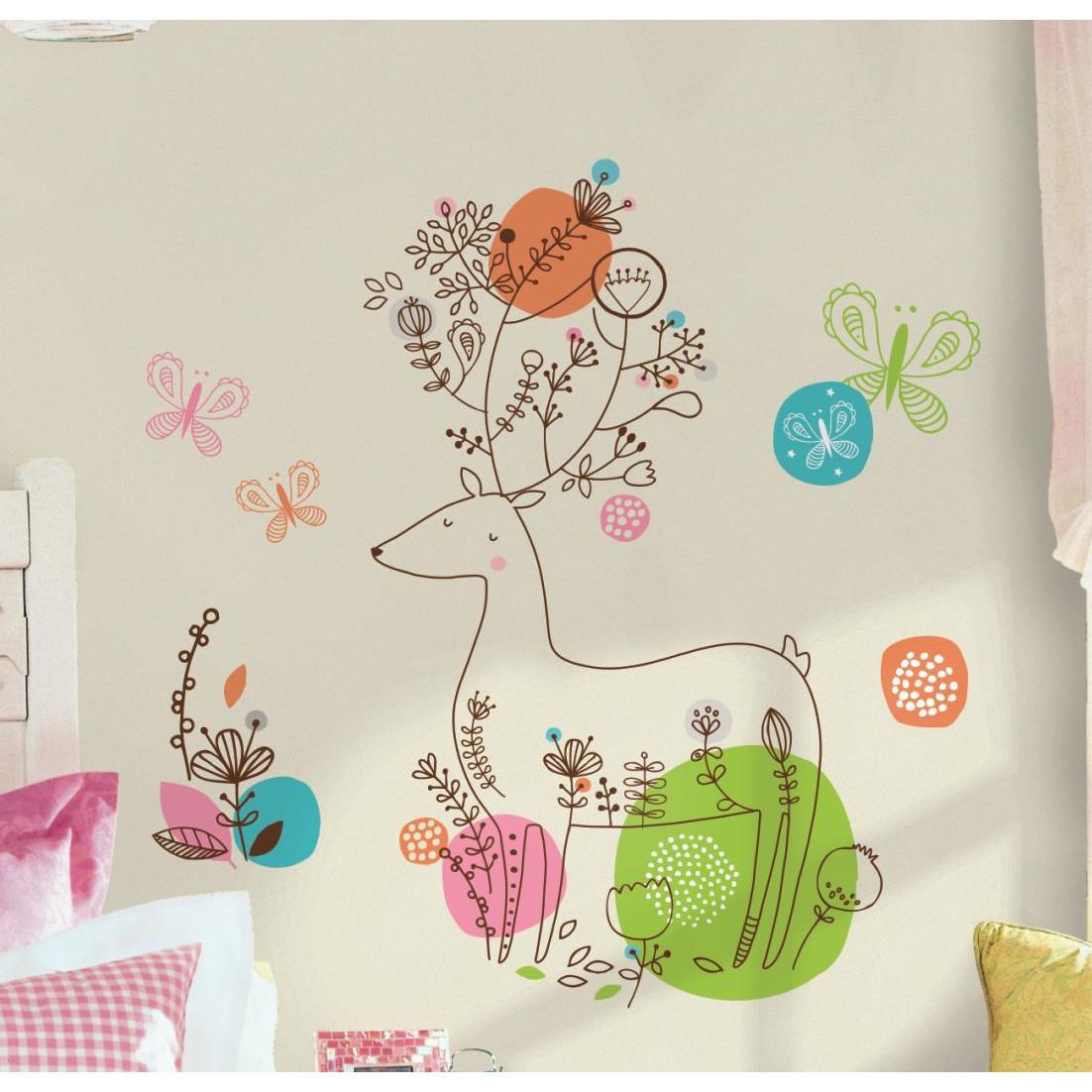 Collant mural cerf Pixie