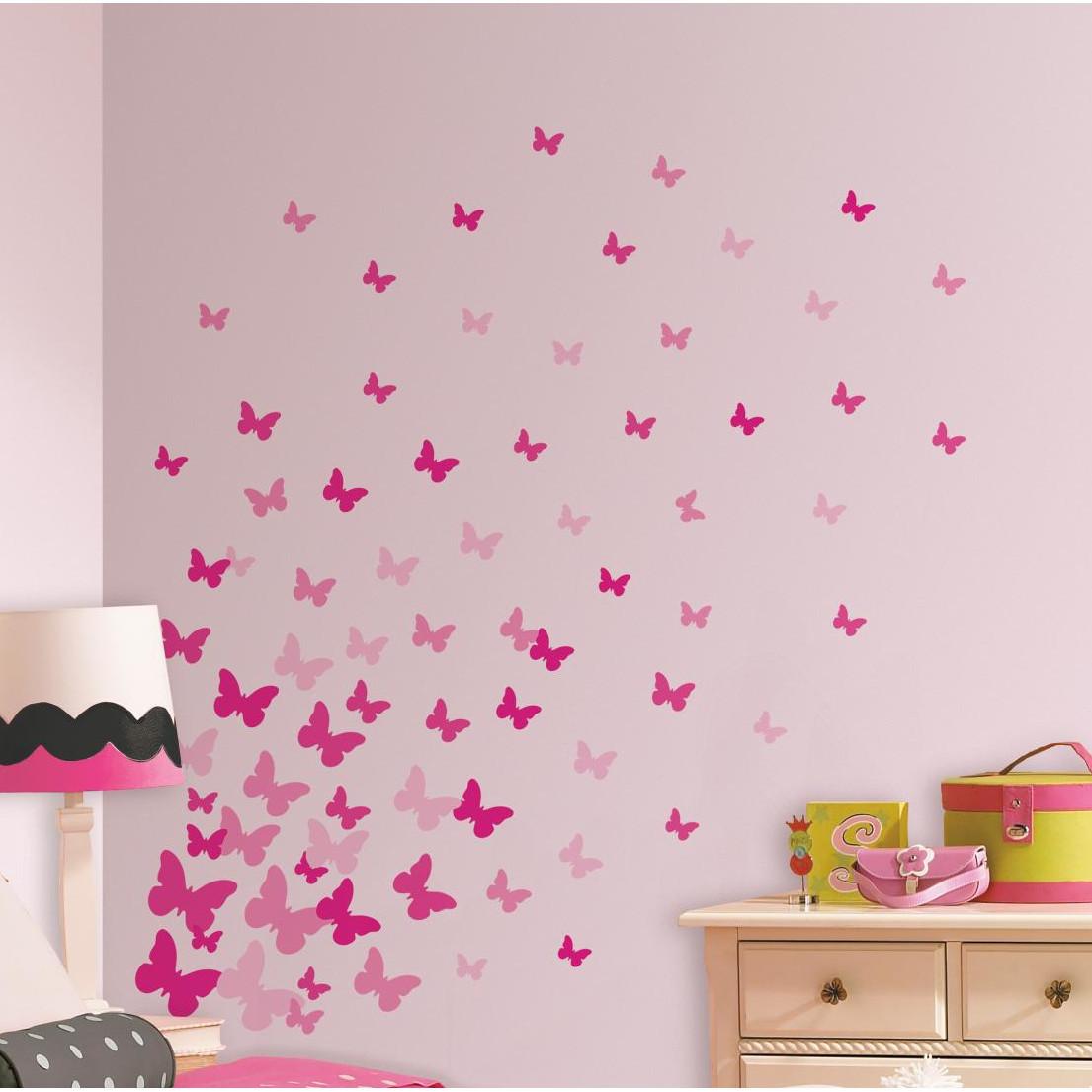 Collant mural envolée de papillons