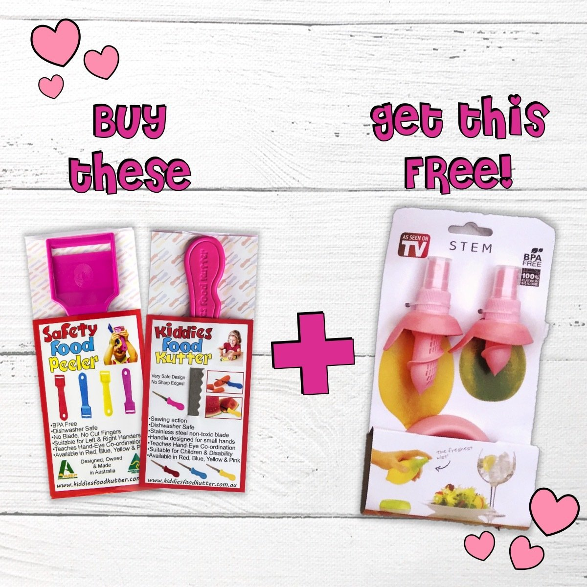 PINK PROMO! Free Citrus Wizz when you buy a PINK Kiddies Food Kutter & PINK Safety Food Peeler PINK PROMO