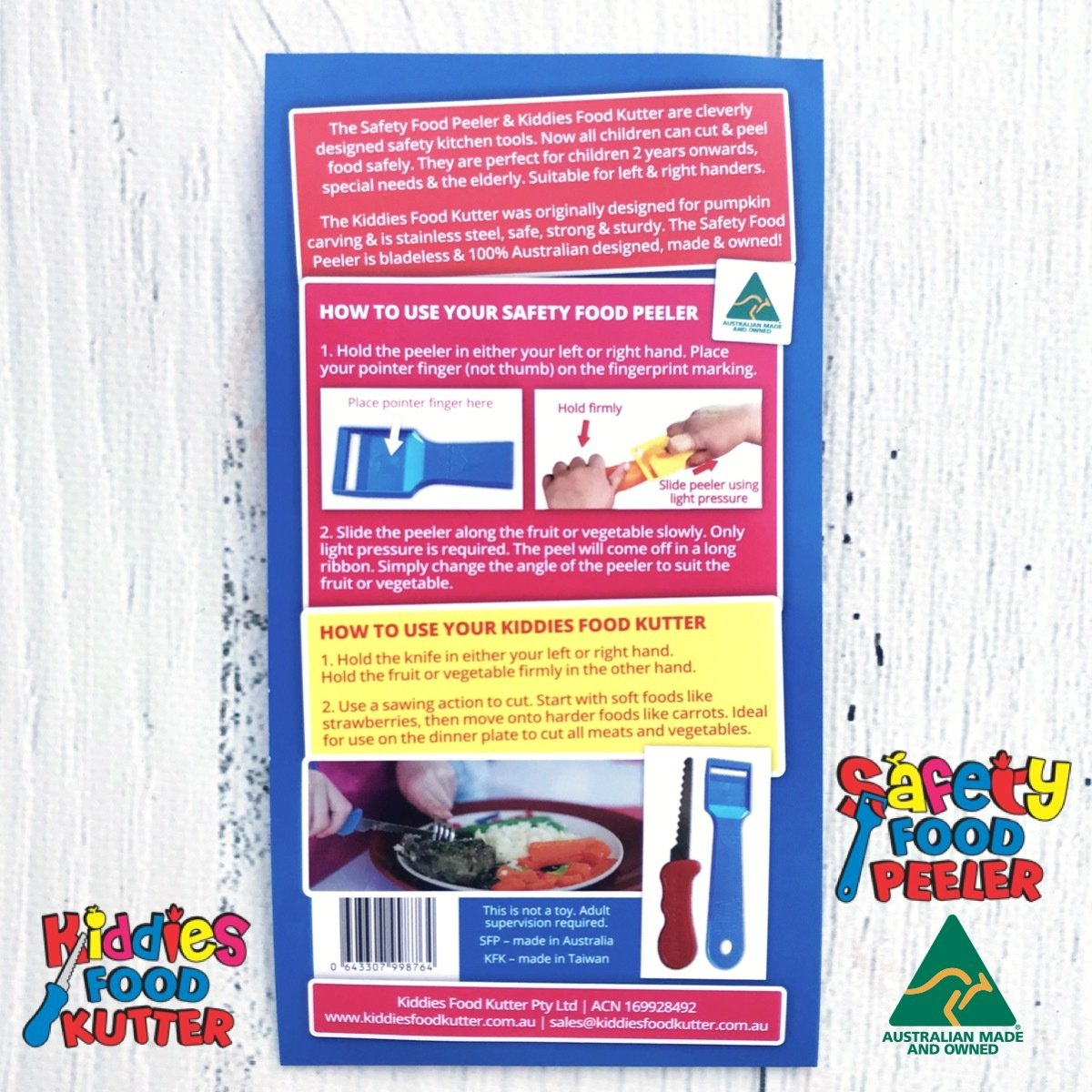 Kiddies Food Kutter & Safety Food Peeler Instructions