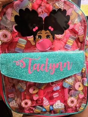 Custom afro puff cutie backpack