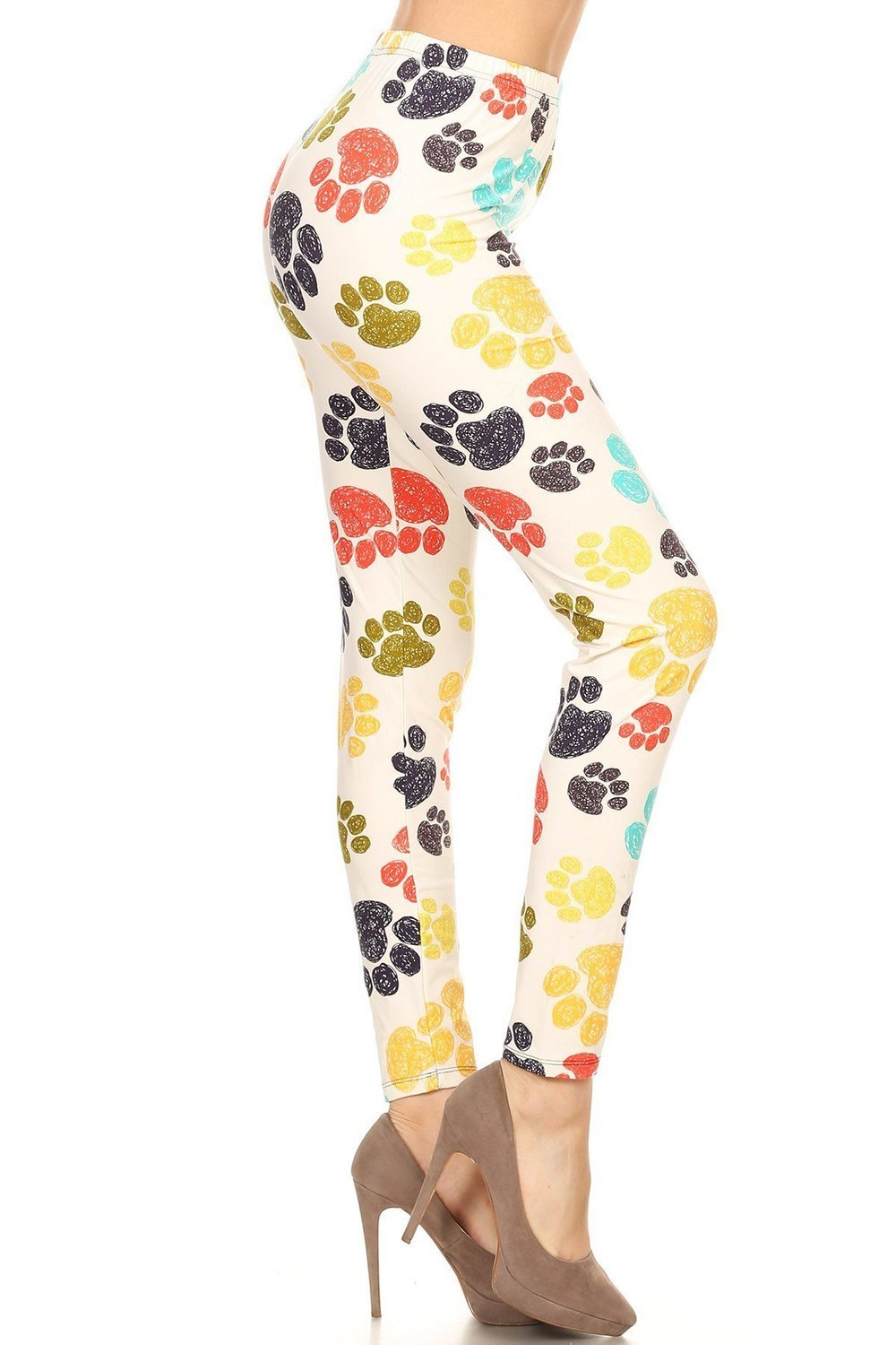 Multi-Color Paw Print Leggings or Capris (White)