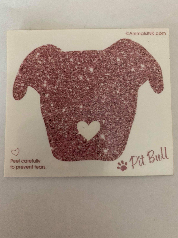 Pink Glitter Pittie Head decal