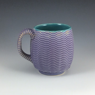 12oz Cup in turquoise & purple