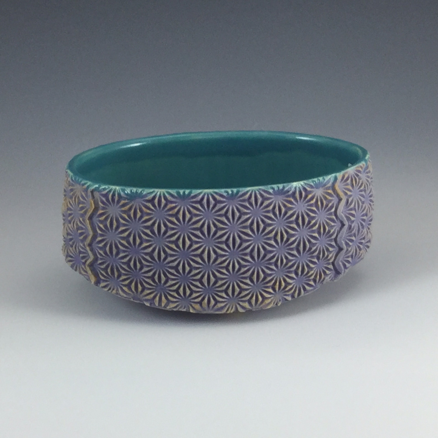 Small Oval Bowl in turquoise & purple
