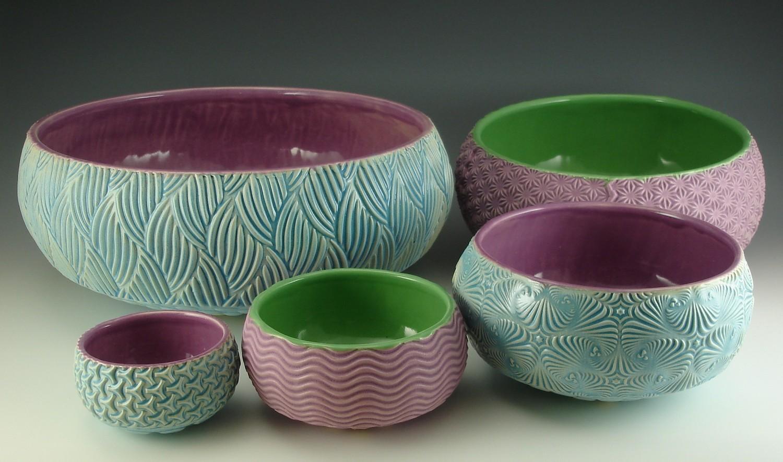 Nesting Bowls in lake ice blue & gum, gum & green, lake ice blue & gum, gum & green, lake ice blue & gum
