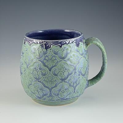 Oregon Cup in purple scroll & mermaid