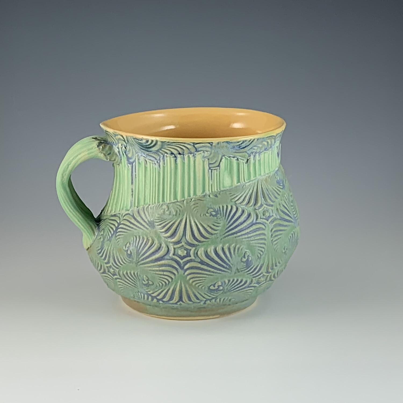 She Cup in yellow, mermaid, green & mermaid