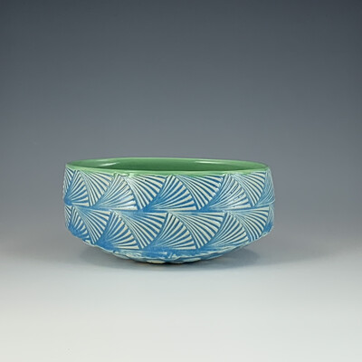 Small Oval Bowl in green & lake ice blue