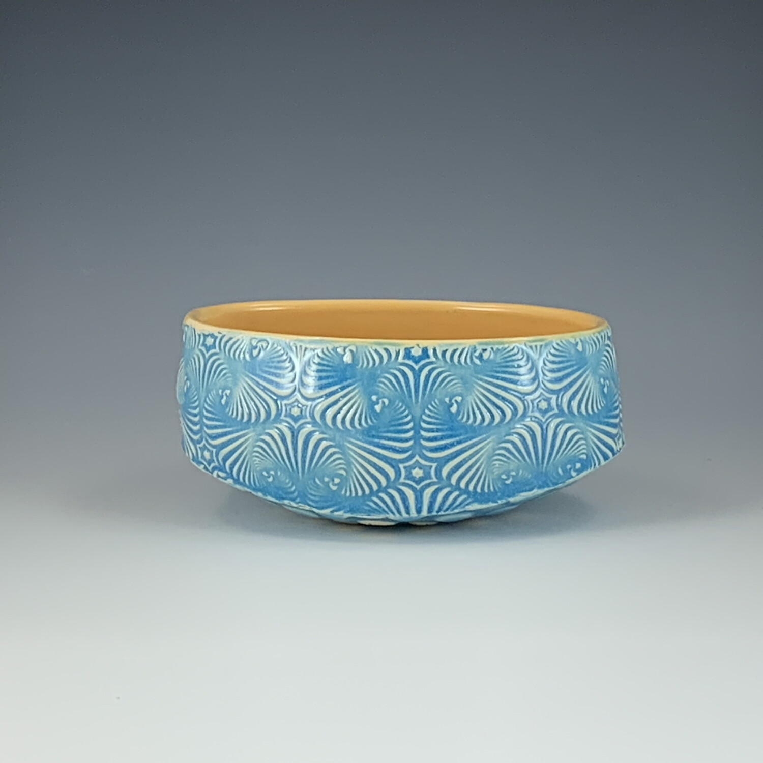 Small Oval Bowl in yellow & lake ice blue