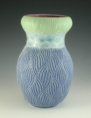 Vase in bloom, green, lake ice blue & bloo