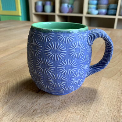 12oz Cup in green & bloo