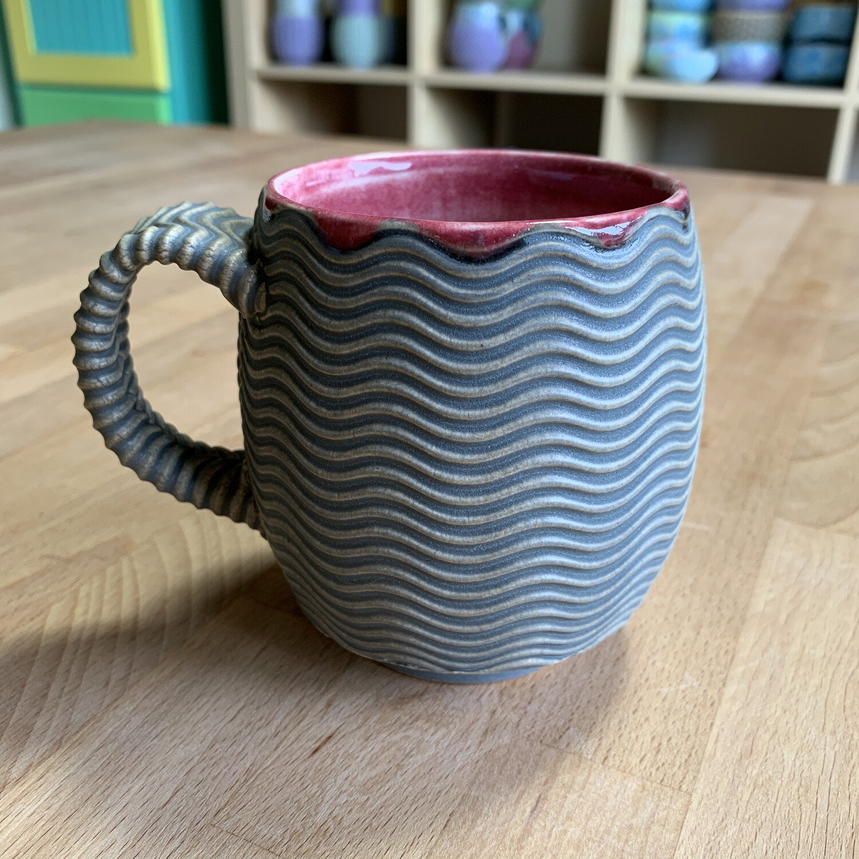 12oz Cup in crimson & grey