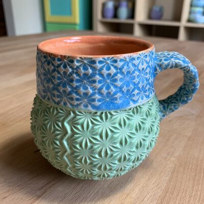 Bubble Cup in peach, lake ice blue & green