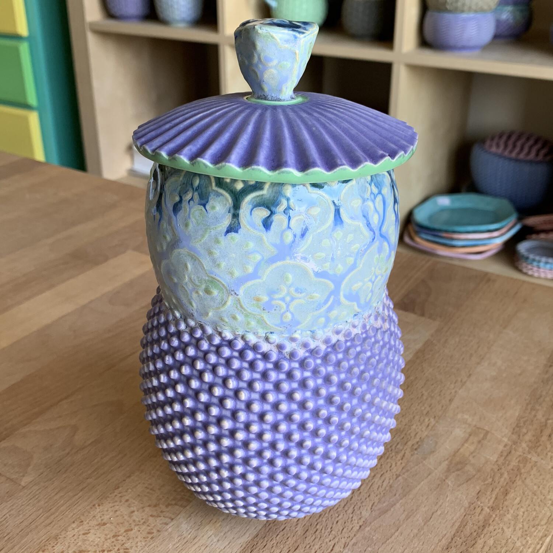Coffee Bean Jar in green, mermaid & purple