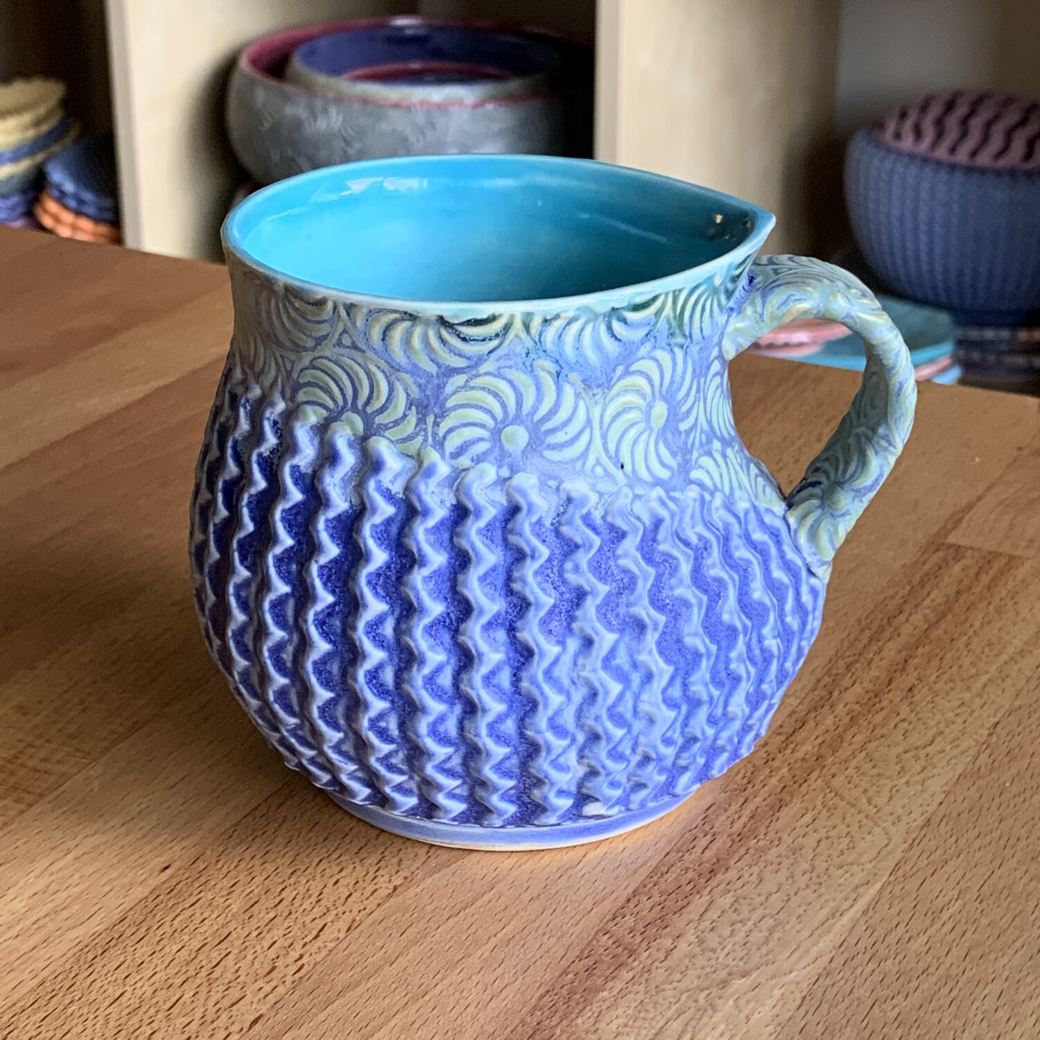 She Cup in turquoise, watered mermaid & bloo