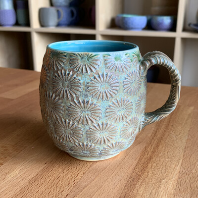 12oz Cup in turquoise & twilight