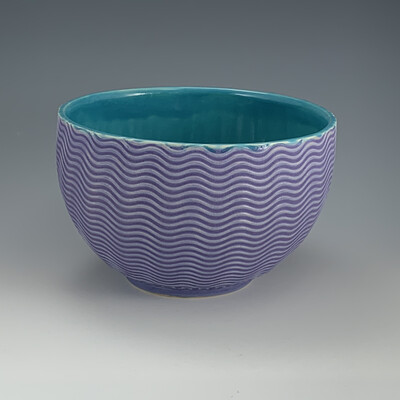 Bowl in turquoise & purple