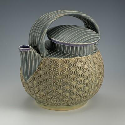 Teapot in purple, grey & twilight
