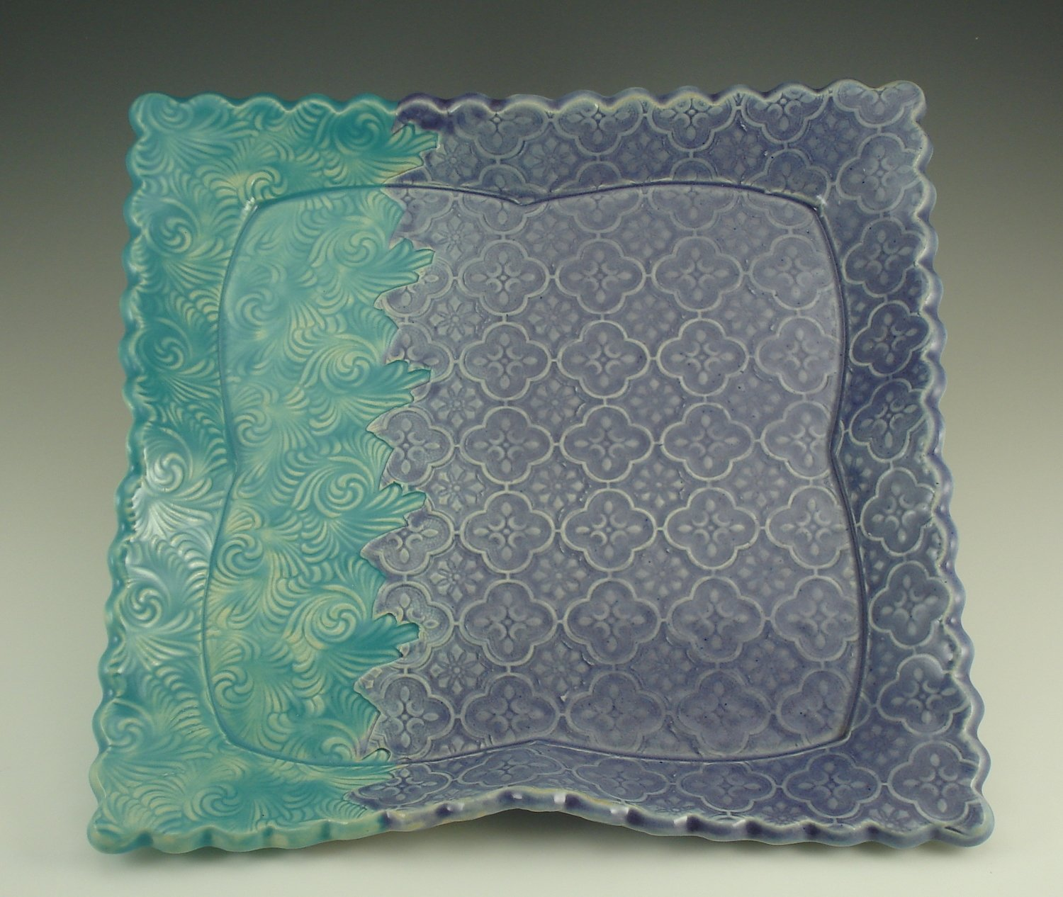 "10.5"" x 10.5"" Square Platter in turquoise & purple"