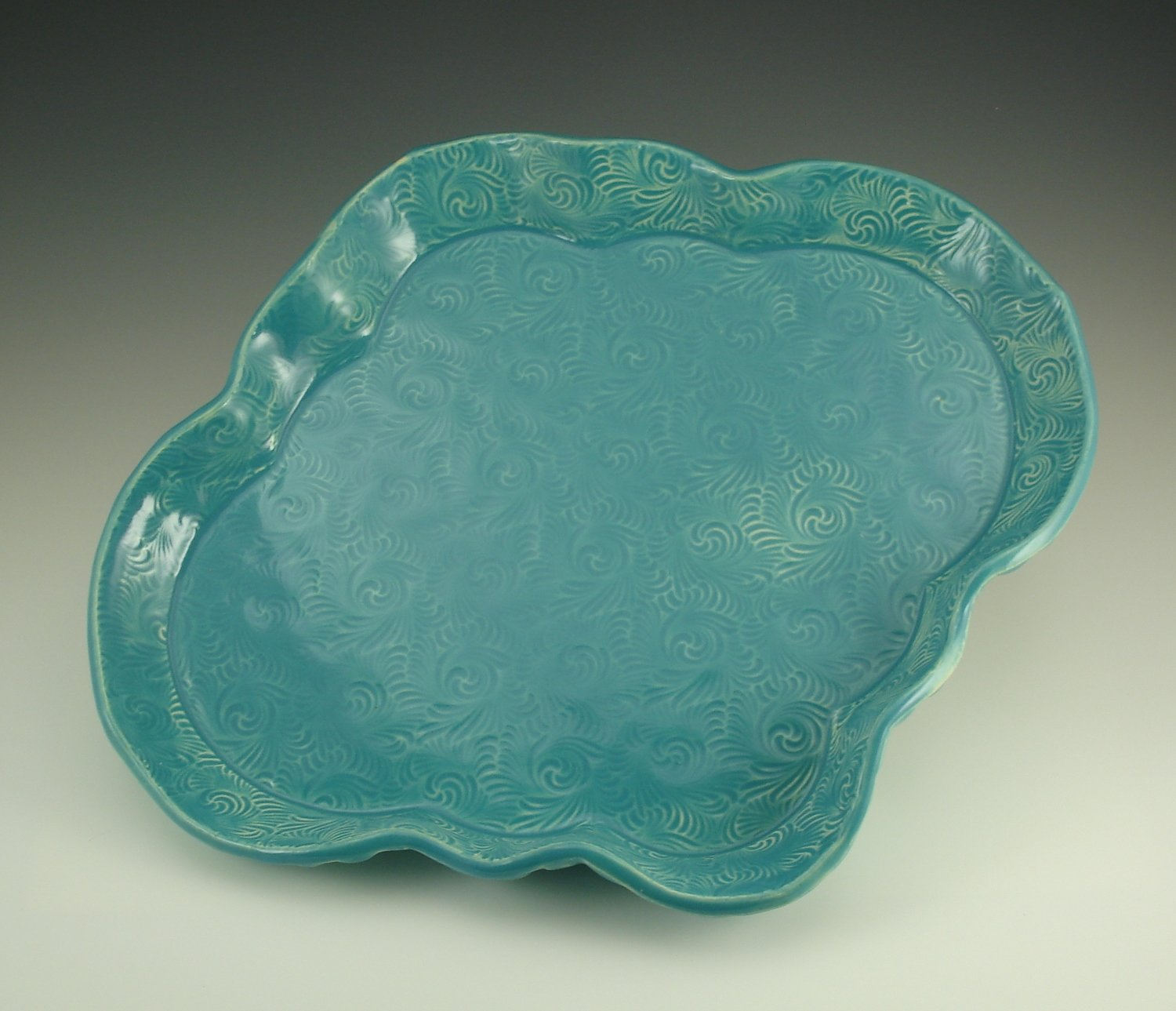 "14"" x 12 Oblong Tray in turquoise"