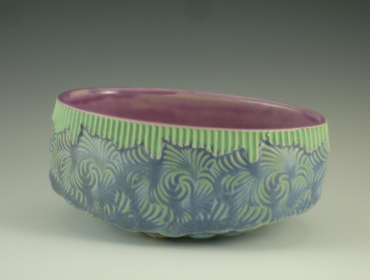 Small Oval Bowl in gum, green & mermaid