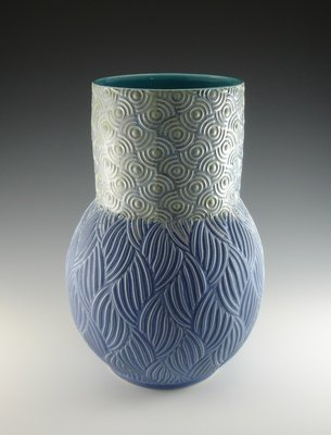 Large Vase in turquoise, mermaid & bloo