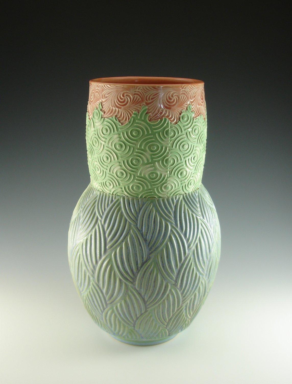 Large Vase in peach, green & mermaid