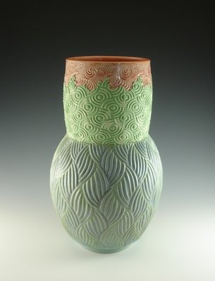 Large Vase in peach, green & mermaid