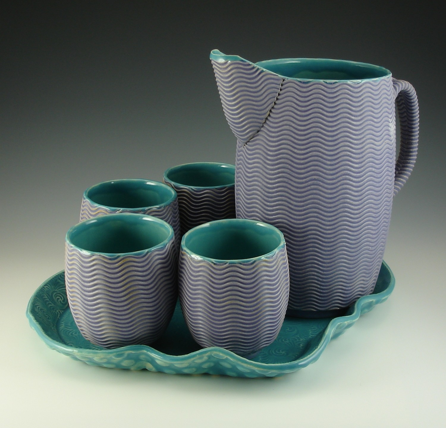 Pitcher Set in turquoise & purple