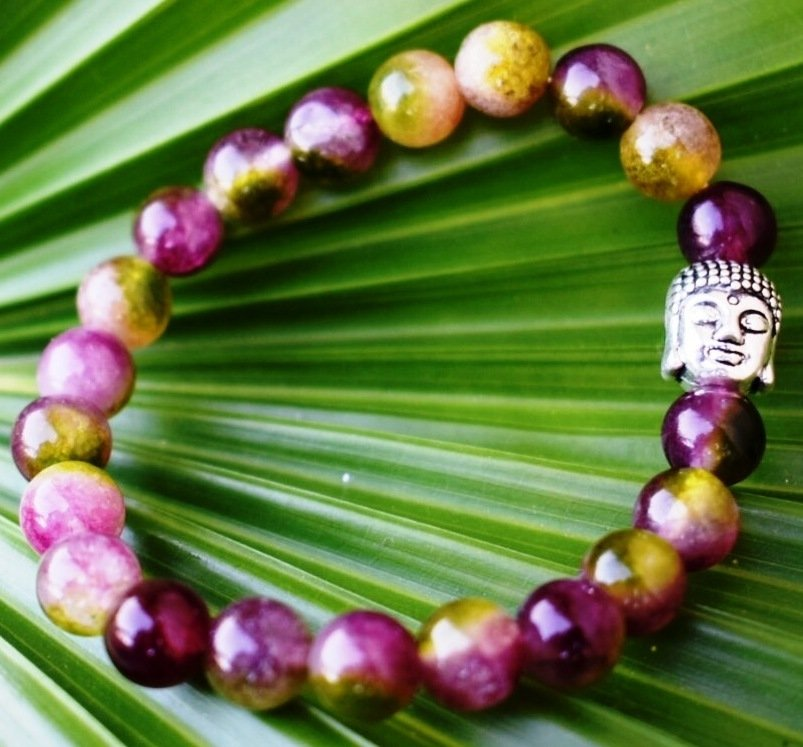 Watermelon Tourmaline healing Crystal bracelet