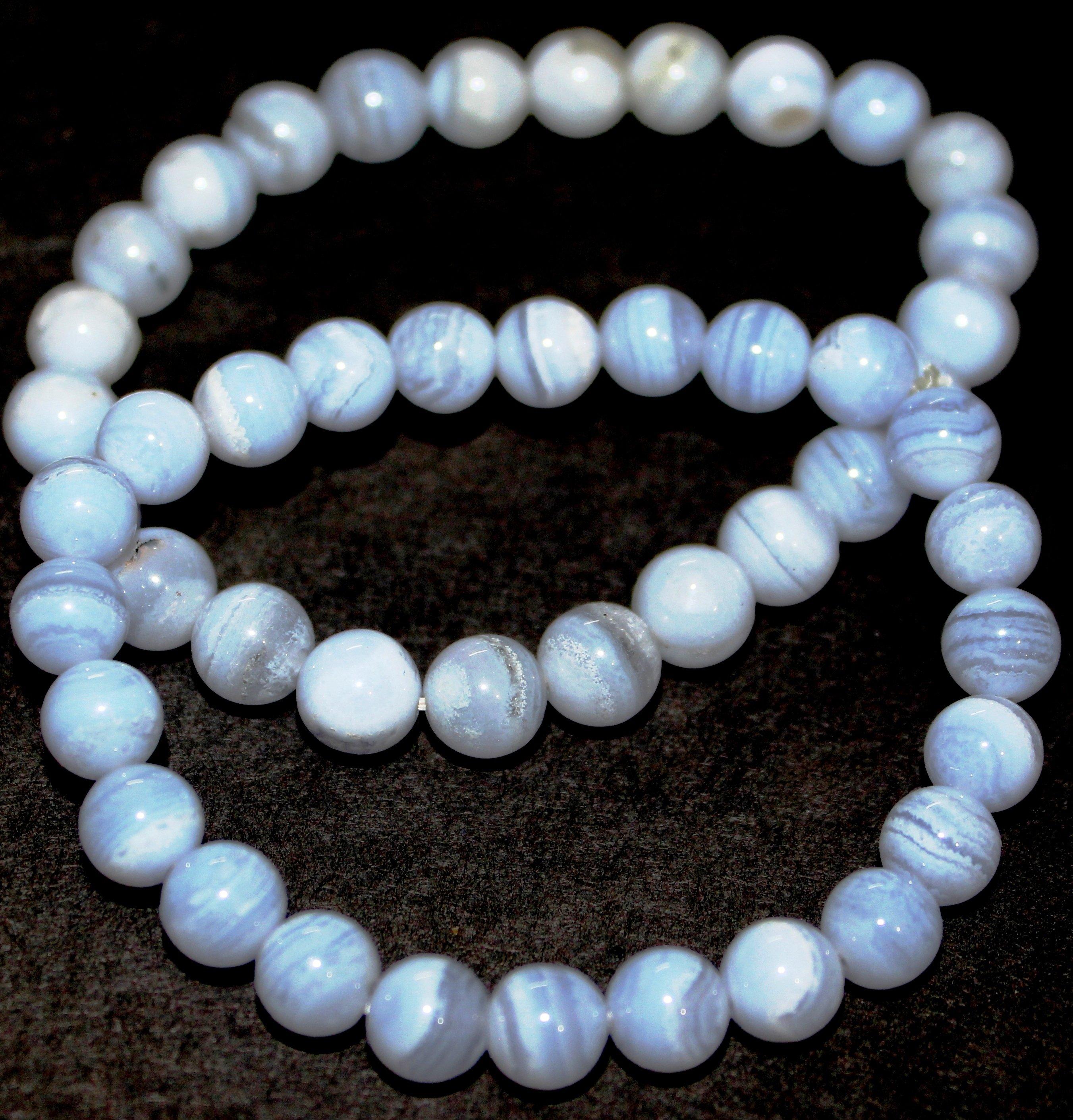 Blue Lace Agate Crystal Bracelet for Unisex 00001BLAB