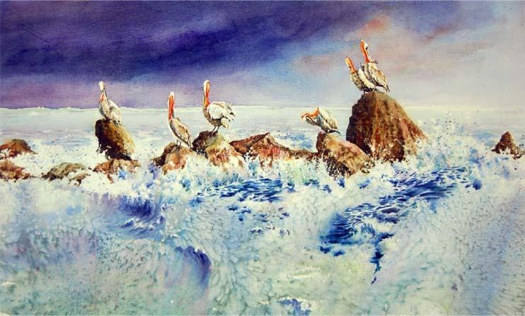 Perched Pelicans