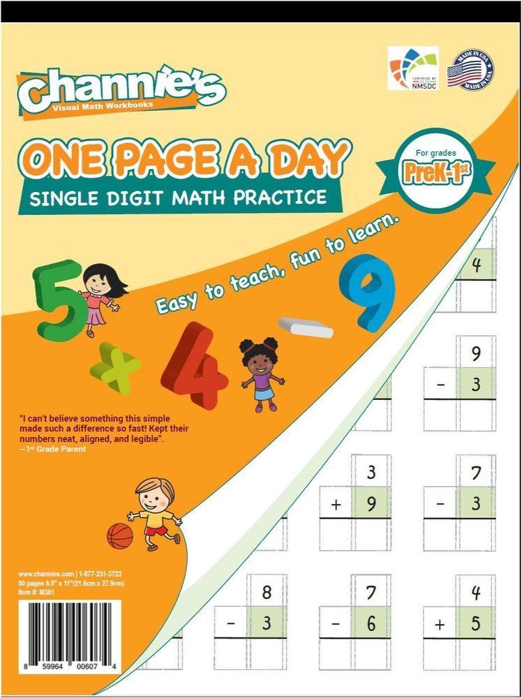Single Digit Math addition subtraction Workbook