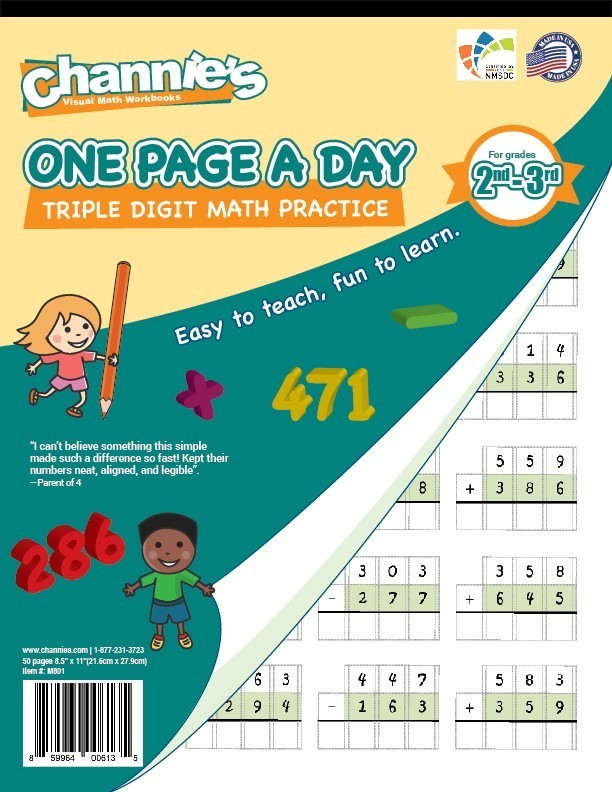One Page A Day Triple Digit Math Workbook for 1st - 3rd Grade Simply ...