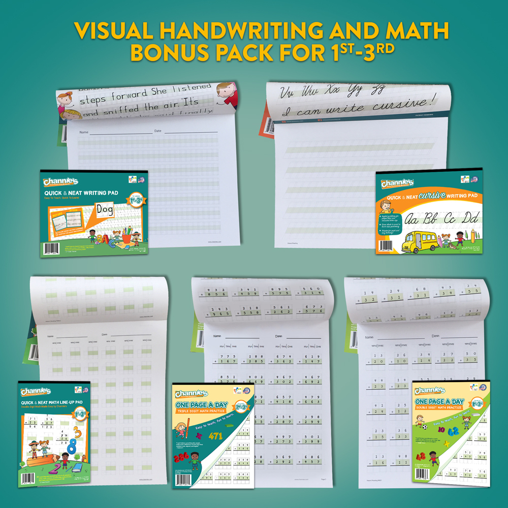 Complete Visual Handwriting and Math workbook Bonus Pack for 1st-3rd