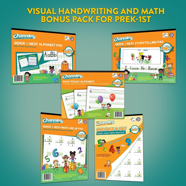 Visual handwriting & Math workbooks for PreK-1st
