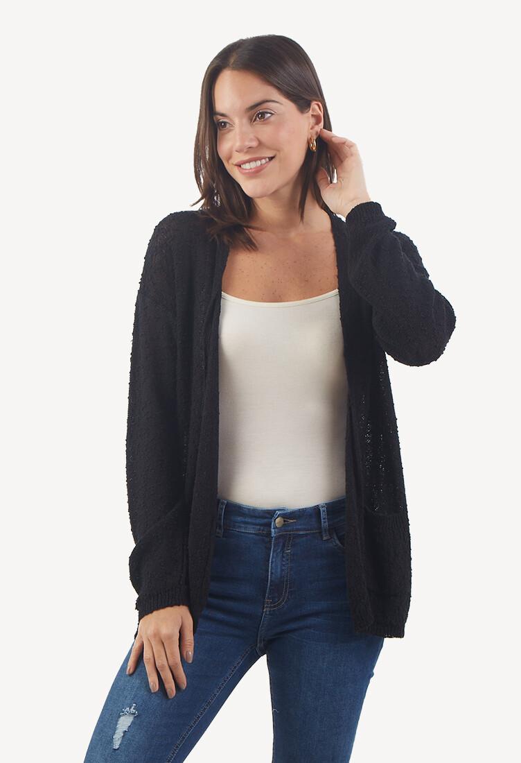 Cárdigan con Bolsillos Color Negro