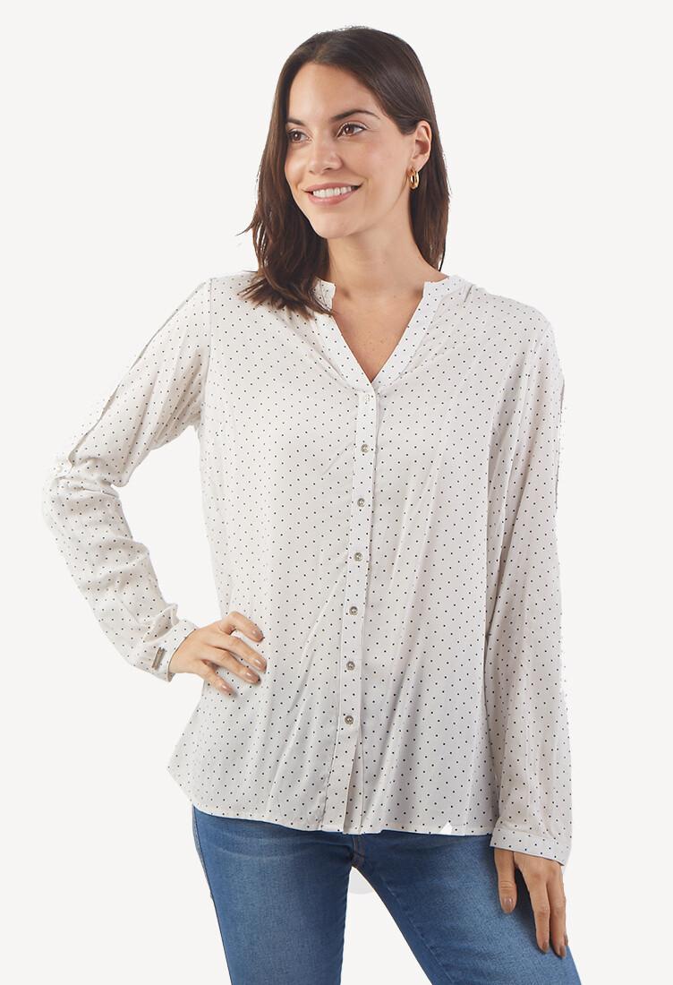 Blusa Blanca con Polka Dots