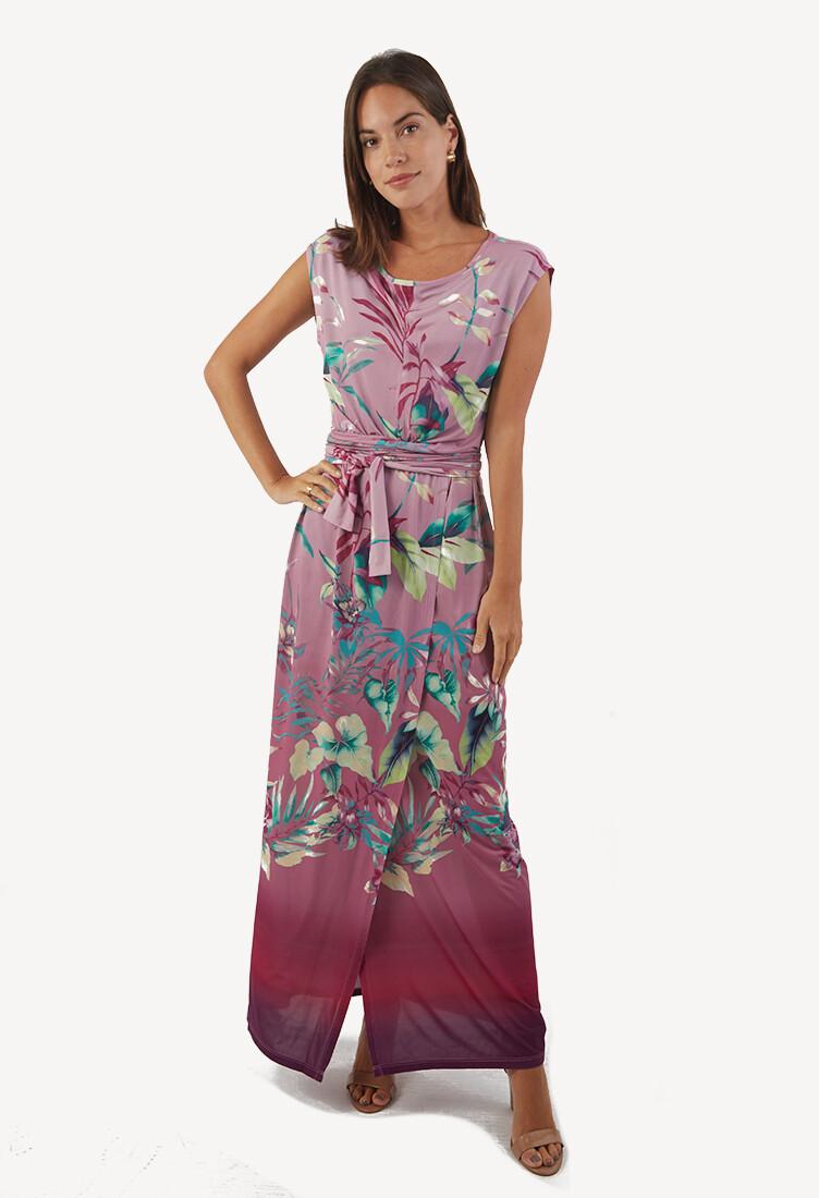 Vestido magenta con print floral