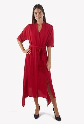 Vestido rojo cuello neru con detalle lazo