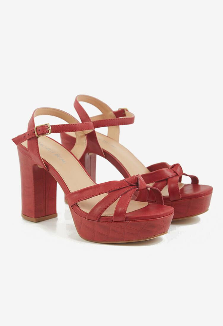 Sandalias de taco color rojo