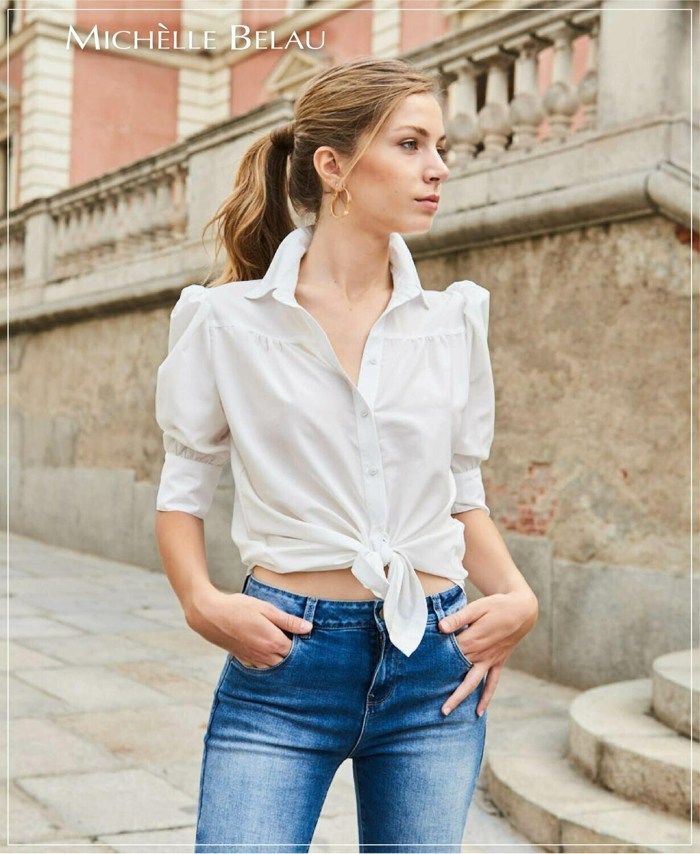 Blusa tipo camisa color blanco